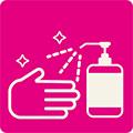 手指のアルコール消毒